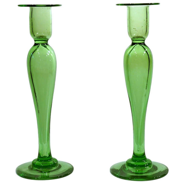 Pair Of Hand Blown Crystal Apple Green Candlesticks By