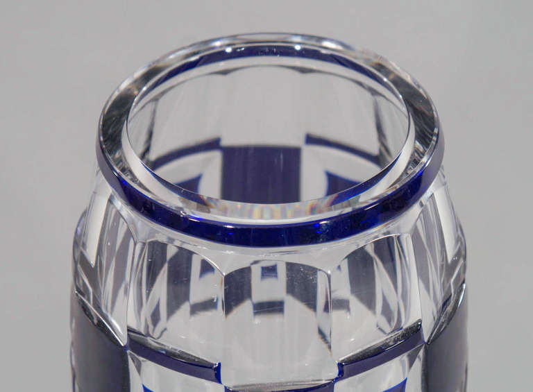 Val Saint Lambert Art Deco Vase Cobalt Cut to Clear In Excellent Condition For Sale In Great Barrington, MA
