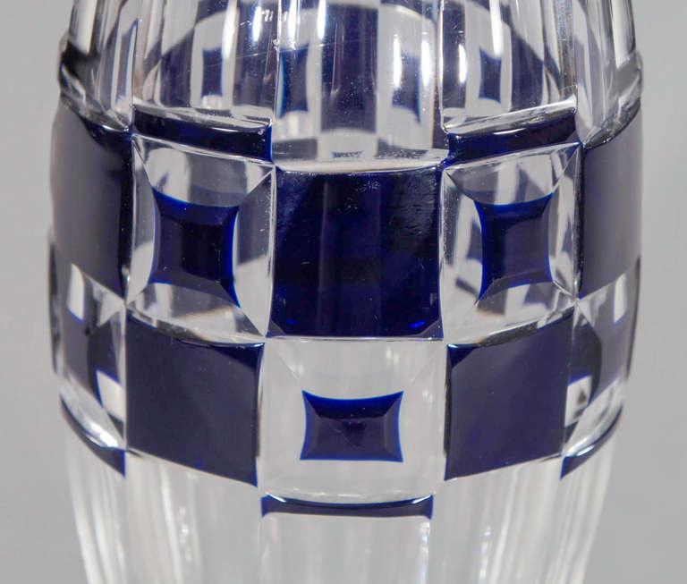 20th Century Val Saint Lambert Art Deco Vase Cobalt Cut to Clear For Sale