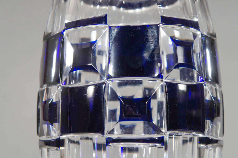 Crystal Val Saint Lambert Art Deco Vase Cobalt Cut to Clear For Sale