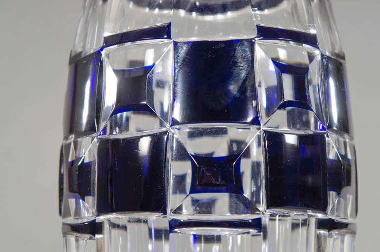 Crystal Val Saint Lambert Art Deco Vase Cobalt Cut to Clear For Sale