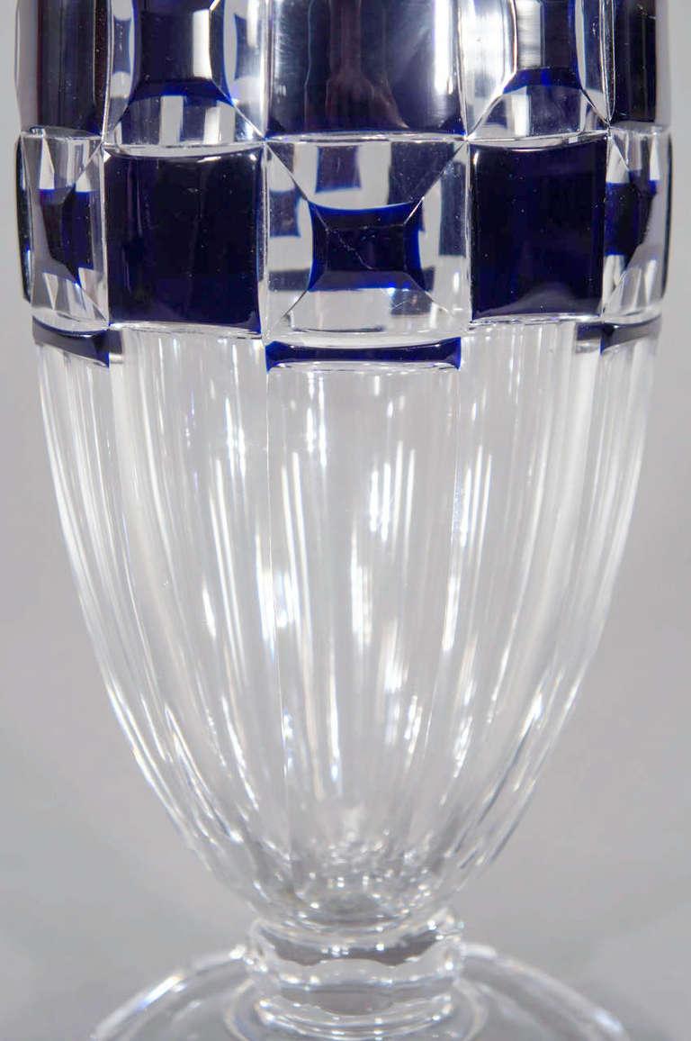 Val Saint Lambert Art Deco Vase Cobalt Cut to Clear For Sale 1
