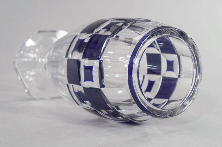Val Saint Lambert Art Deco Vase Cobalt Cut to Clear For Sale 2