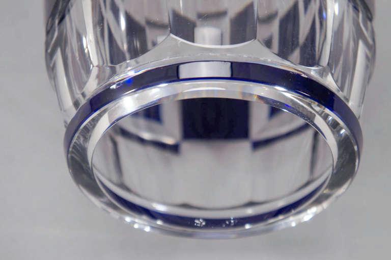 Val Saint Lambert Art Deco Vase Cobalt Cut to Clear For Sale 3