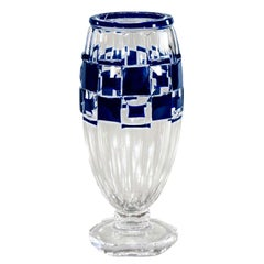 Val Saint Lambert Art Deco Vase Cobalt Cut to Clear