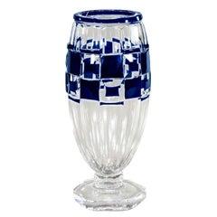 Val Saint Lambert Art Deco Vase Cobalt Cut to Clear