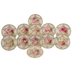 12 Royal Doulton Magnificent Hand-Painted Dinner Service Plates, Signed Curnock