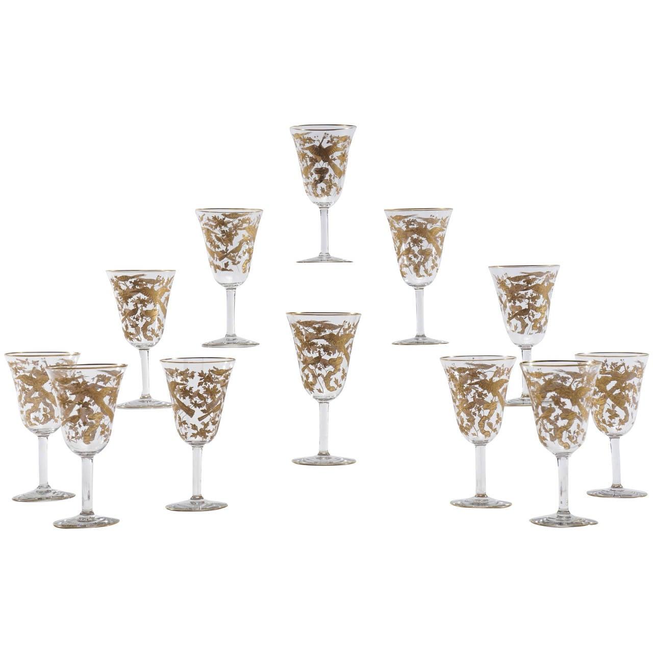 12 baccarat crystal wine goblets intaglio cut with gilded. Black Bedroom Furniture Sets. Home Design Ideas