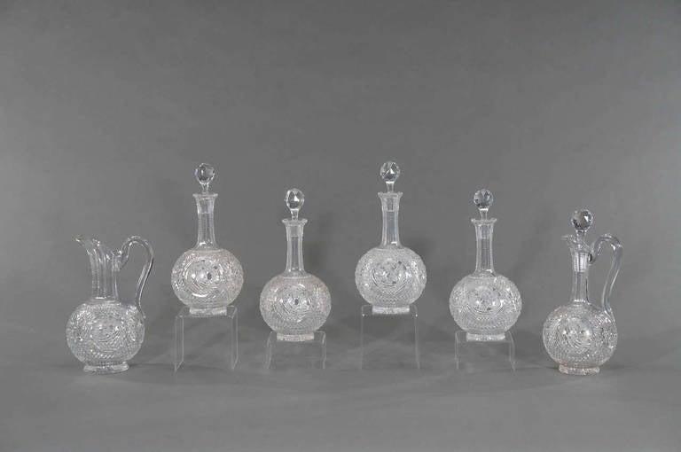Six-Piece Cut Crystal Liquors Set Four Decanters, Claret & Pitcher, 19th  Century