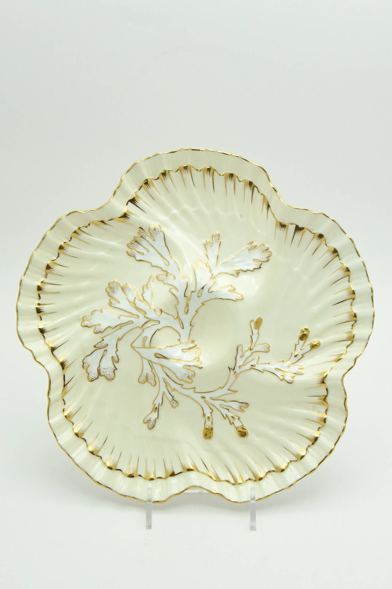 Aesthetic Movement Set of 12 19th c. Brownfield's for Tiffany Ivory & Gold Coral Reef Oyster Plates For Sale