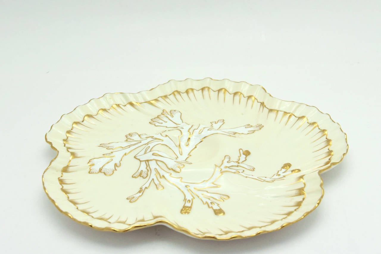 English Set of 12 19th c. Brownfield's for Tiffany Ivory & Gold Coral Reef Oyster Plates For Sale