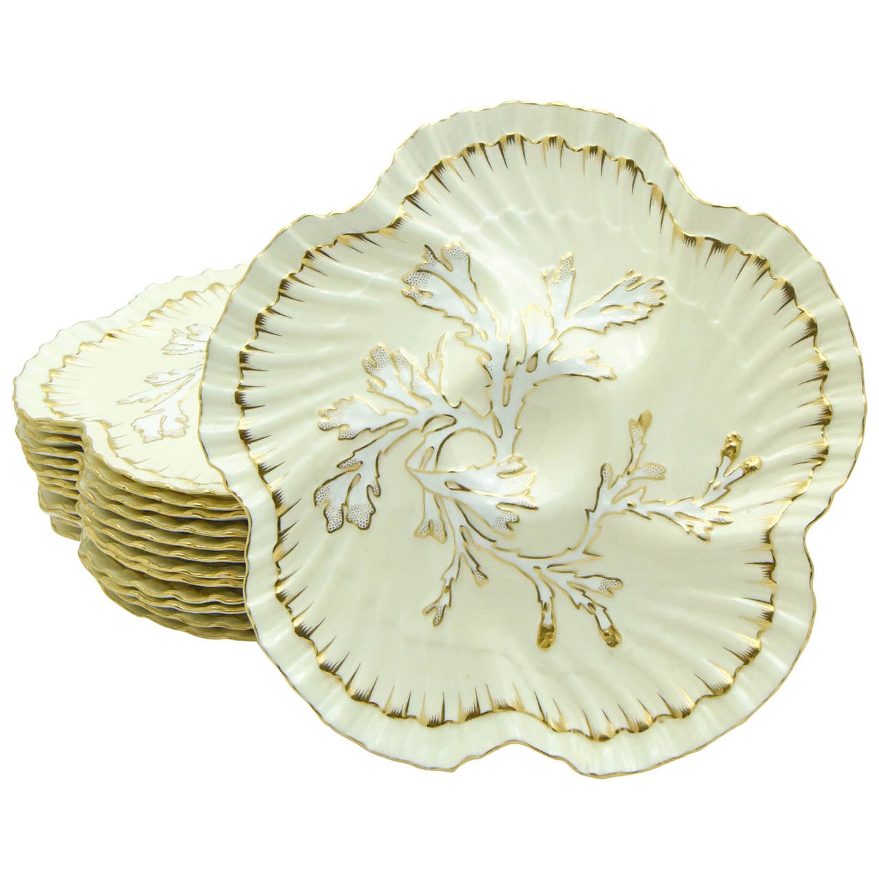 Set of 12 19th c. Brownfield's for Tiffany Ivory & Gold Coral Reef Oyster Plates For Sale