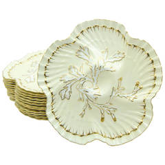 Set of 12 19th c. Brownfield's for Tiffany Ivory & Gold Coral Reef Oyster Plates