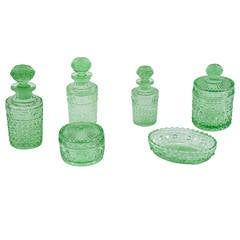 Val Saint Lambert 6 Piece Apple Green Crystal Dresser Set