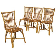 Set Of Four Stick Wicker Dining Chairs