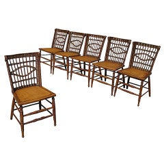 Set Of Six Matching Early Wicker Dining Chairs