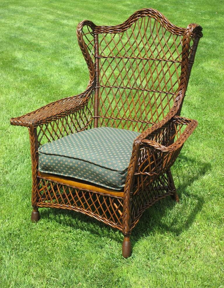 Bar Harbor Wicker Crownback Wing Chair at 1stdibs