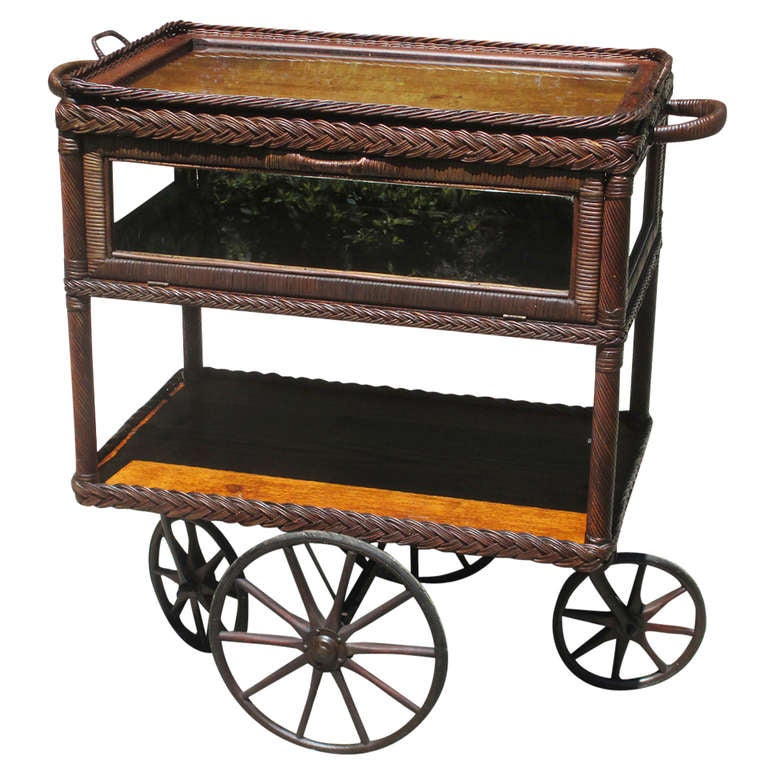 Unusual Wicker Pie Safe Tea Cart At 1stdibs