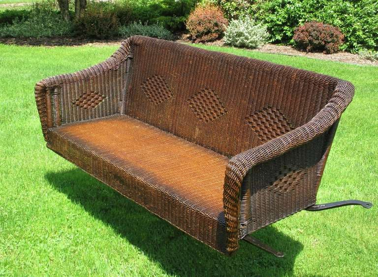 Art Deco Wicker Porch Swing At 1stdibs