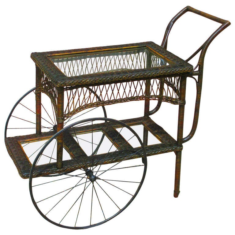 Bar Harbor Wicker Tea Cart At 1stdibs