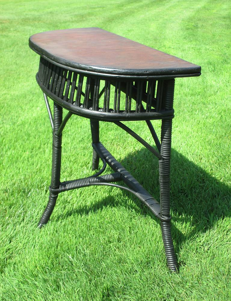 Stick Wicker Demi Lune Table At 1stdibs