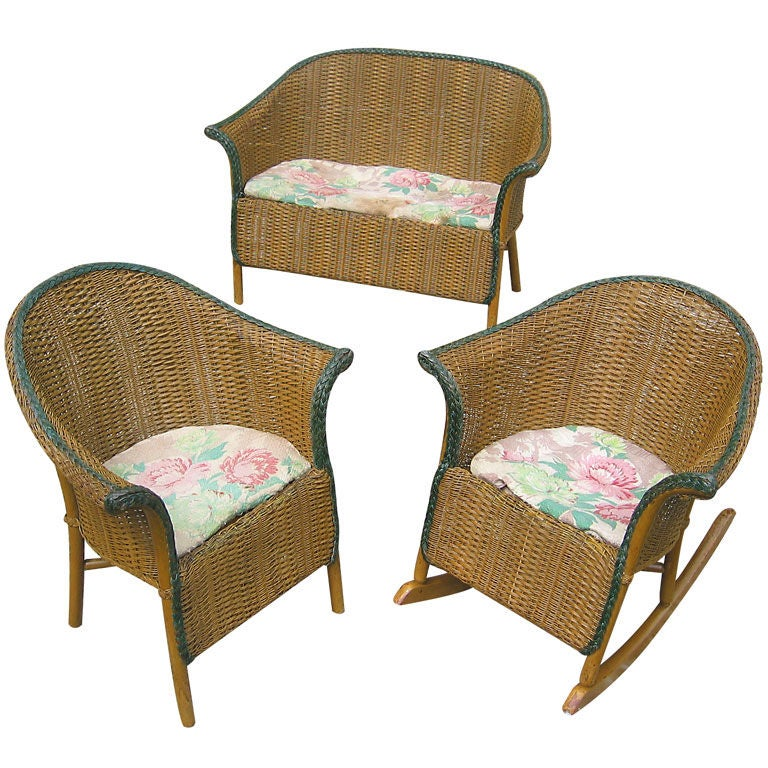 Three-Piece Child's Wicker Set