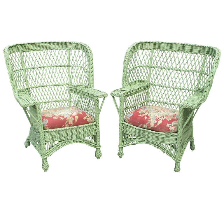 Matching Pair Bar Harbor Wicker Armchairs At 1stdibs