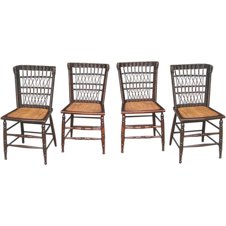 set of four wicker dining chairs at 1stdibs
