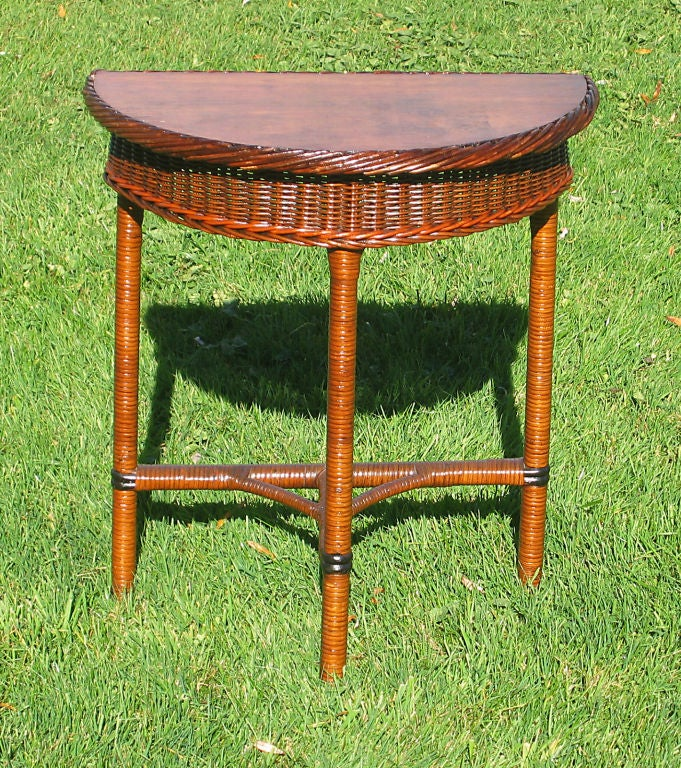 Art Deco Demi Lune Wicker Table At 1stdibs