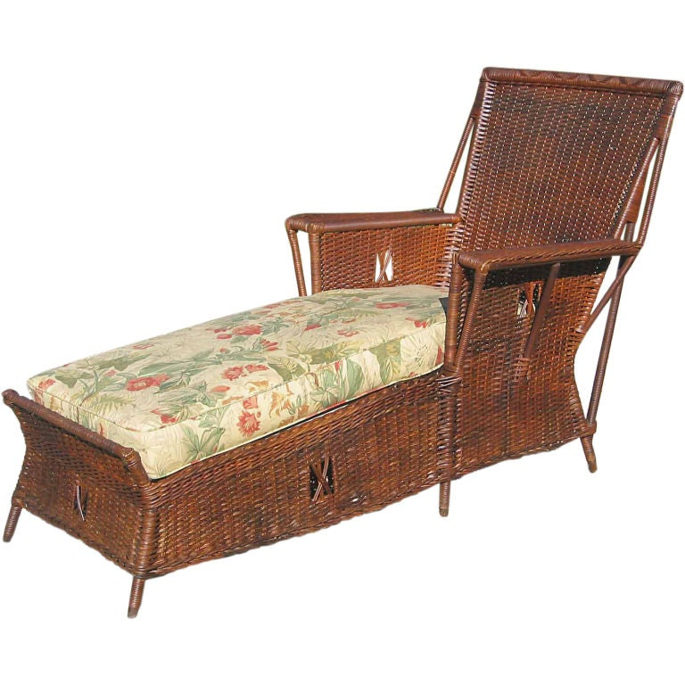 Art deco wicker chaise lounge at 1stdibs for Art deco chaise lounge