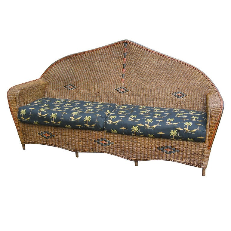 High style art deco wicker sofa at 1stdibs for Art deco style sofa