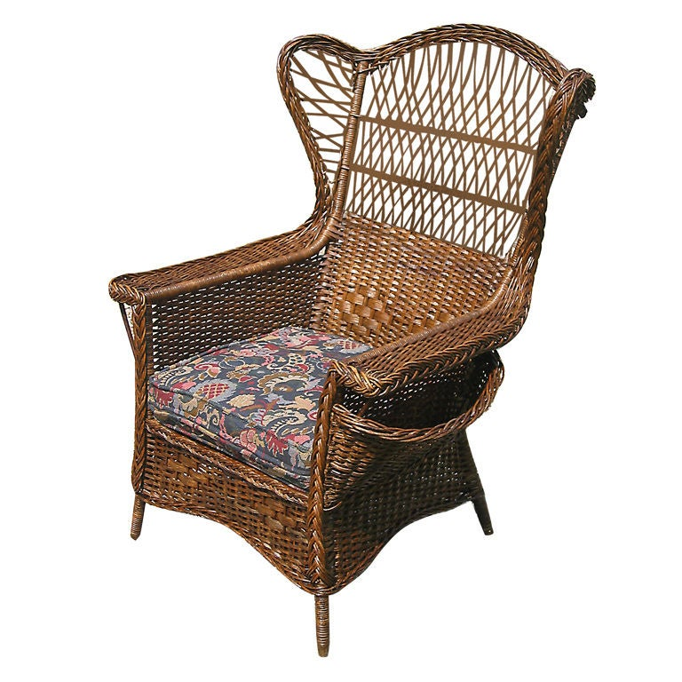 WICKER WINGBACK ARMCHAIR at 1stdibs