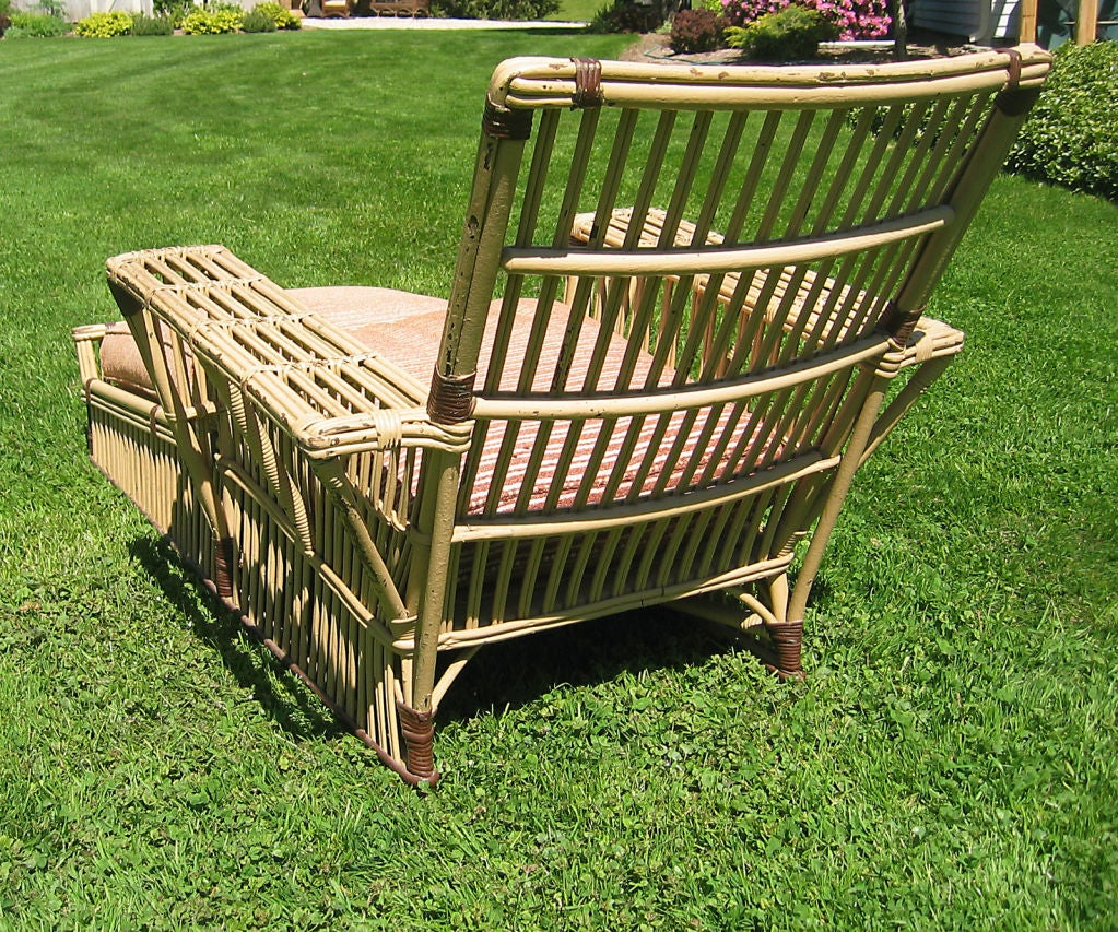 Stick wicker chaise longue at 1stdibs for Chaise longue rattan