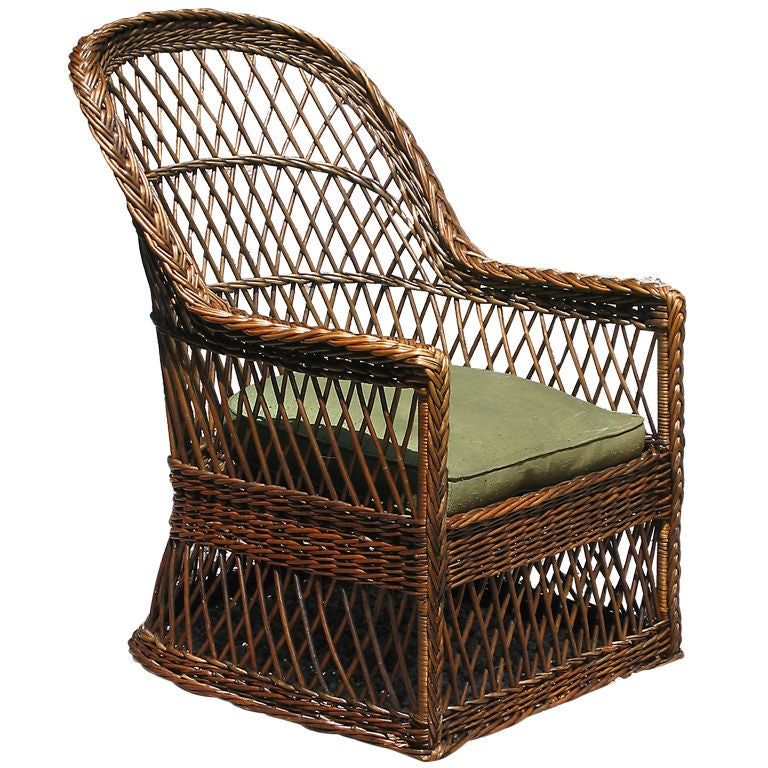 Gustav Stickley Wicker Armchair At 1stdibs