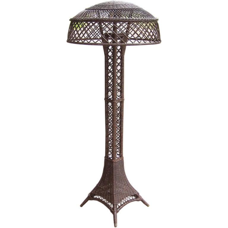 bar harbor eiffel tower wicker floor lamp at 1stdibs. Black Bedroom Furniture Sets. Home Design Ideas