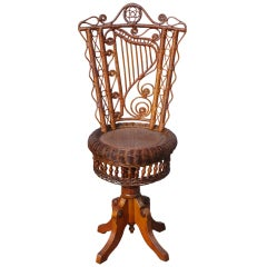 Victorian Wicker Piano Stool