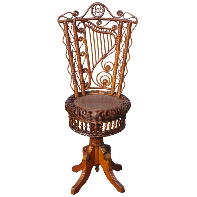 Victorian Wicker Piano Stool At 1stdibs