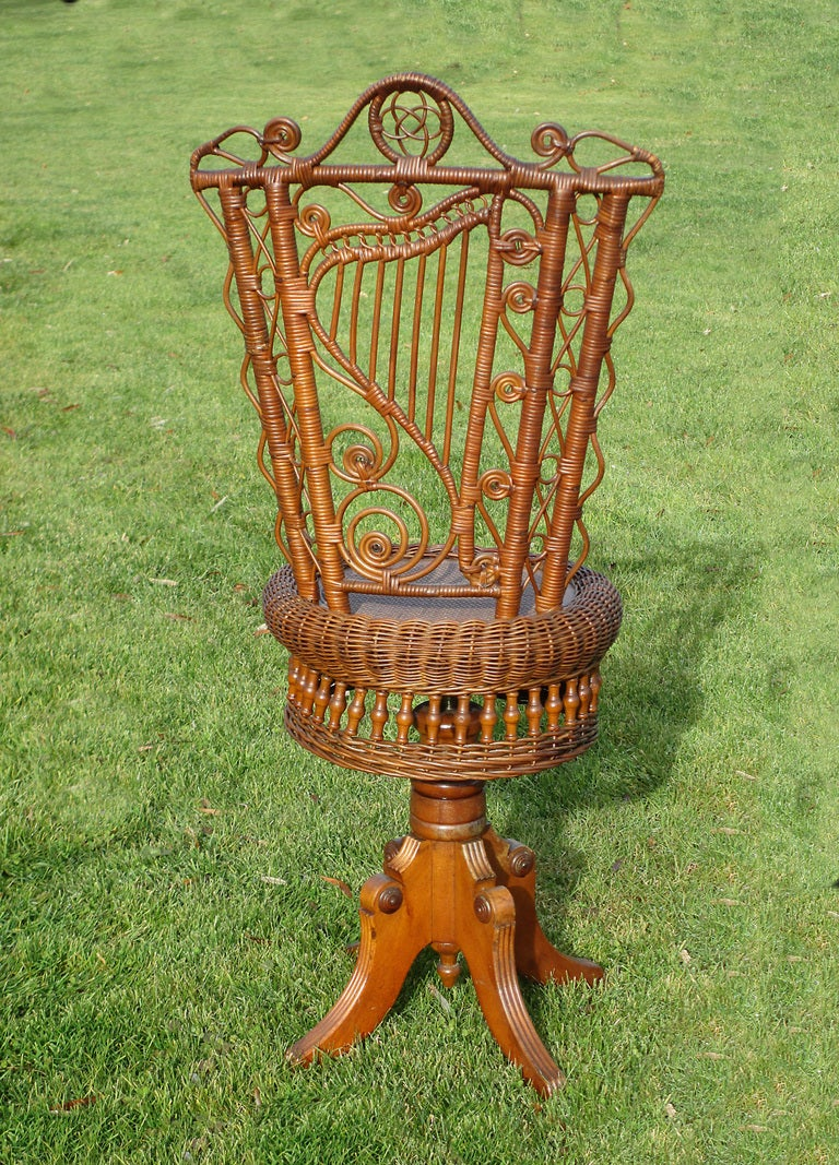 Victorian Wicker Piano Stool For Sale At 1stdibs