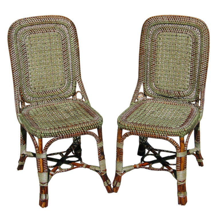 Matching pair french wicker bistro chairs at 1stdibs - Cane bistro chairs ...