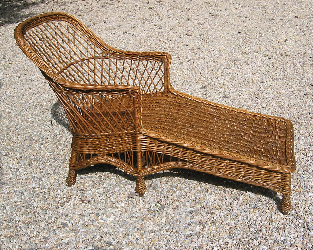Bar harbor wicker chaise longue for sale at 1stdibs for Chaise longue rattan