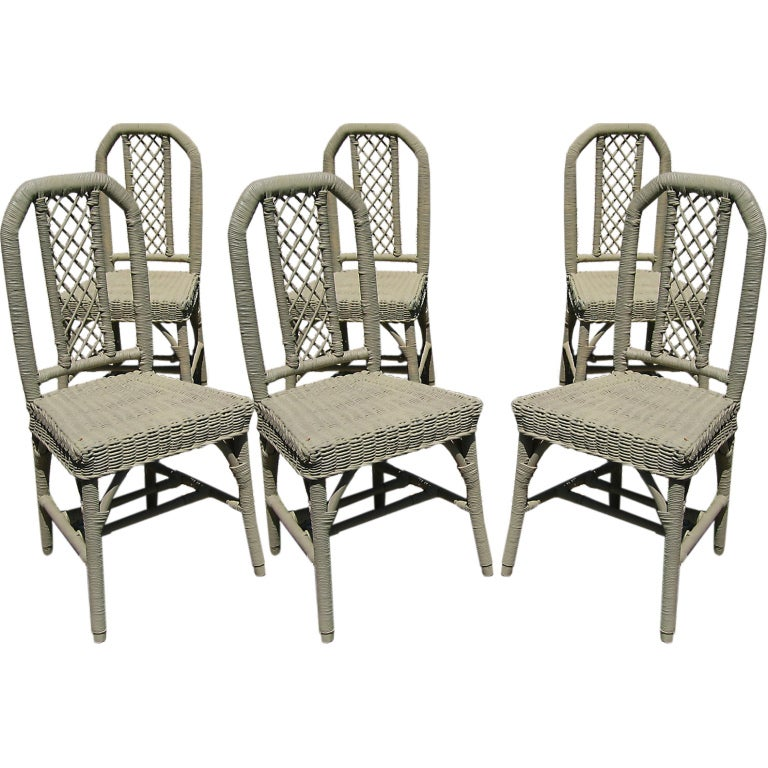 set of six wicker dining chairs at 1stdibs
