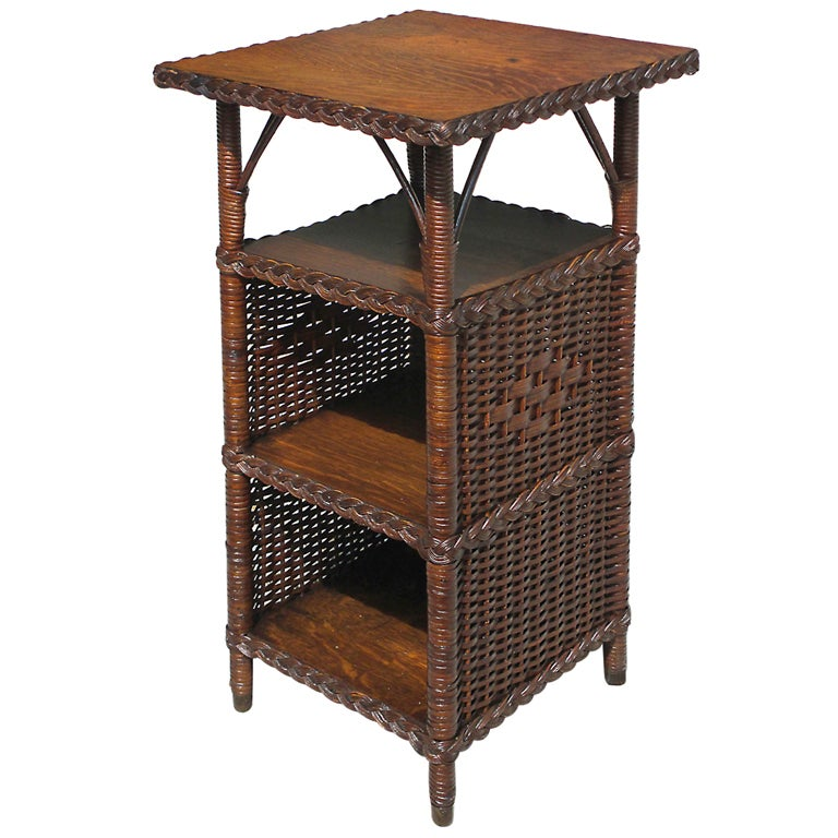 Art Deco Wicker End Table At 1stdibs