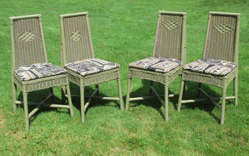 set of four deco wicker dining chairs for sale at 1stdibs