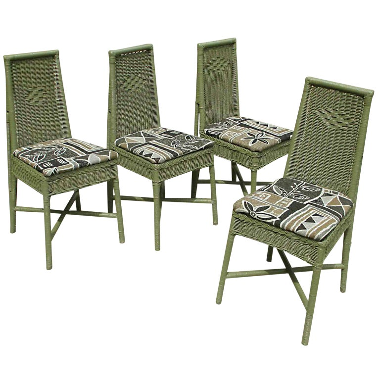 Set Of Four Art Deco Wicker Dining Chairs At 1stdibs