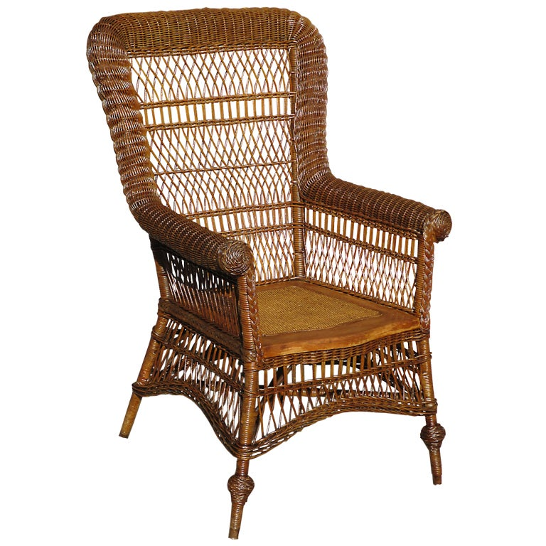 Victorian Rolled Arm Wicker Chair