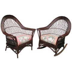 Matching Pair Bar Harbor Wicker Armchair/Rocker
