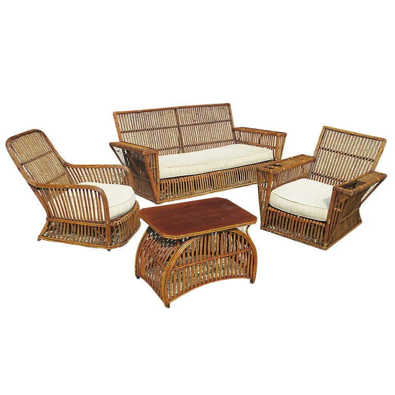 Four Piece Stick Wicker Suite At 1stdibs