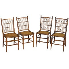 Four Wicker Dining Chairs