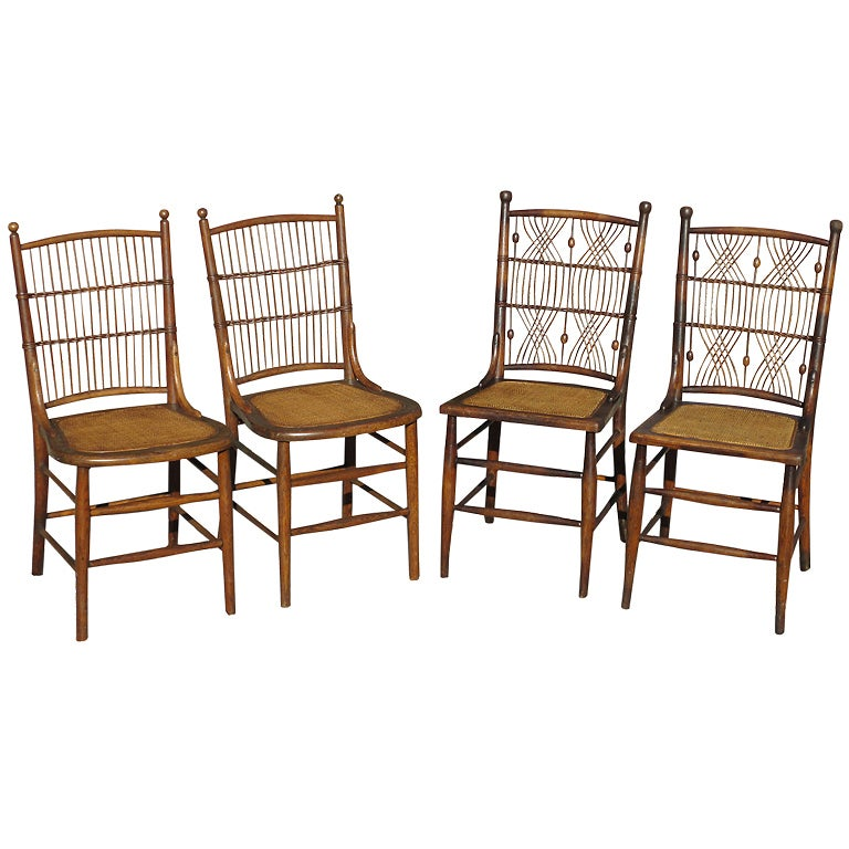 Four wicker dining chairs at 1stdibs for Wicker dining room chairs