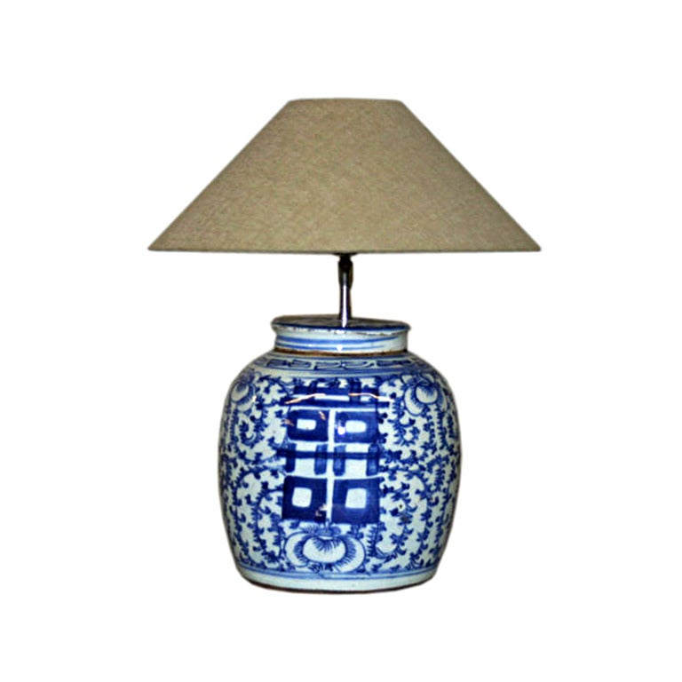 Chinese Blue And White Ginger Jar Lamp At 1stdibs